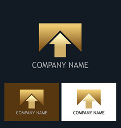 arrow up square gold company logo vector image vector image