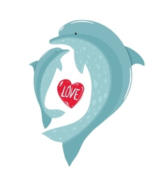 Two Dolphins Mother and Child Love vector image
