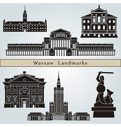 Warsaw landmarks and monuments vector image vector image
