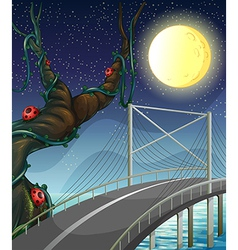 A road above the river near the tree with bugs vector image vector image