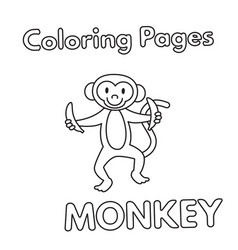 Cartoon monkey coloring book vector