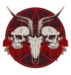 goat and human skull and roses vector image