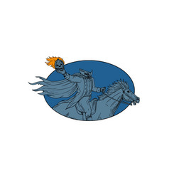 headless horseman pumpkin head horse oval drawing vector image vector image