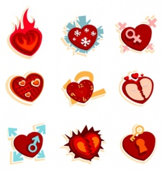 heart funny icons vector image