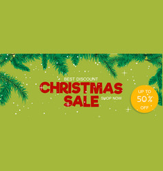 christmas sale banner holiday discount xmas winter vector image