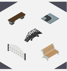 isometric urban set of barricade seat bench and vector image