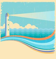lighthousevintage sea waves background vector image vector image