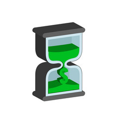 Sandclock time is money concept symbol flat vector