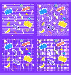 set memphis pattern geometry different backgrounds vector image vector image