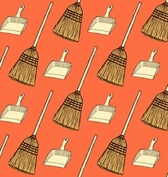 Sketch broom and dust pan vector image vector image