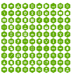100 security icons hexagon green vector