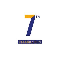 7 th anniversary celebration orange blue template vector