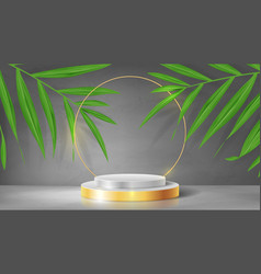 abstract banner with pedestal and gold circle vector image