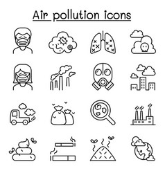Air pollution icon set in thin line style vector