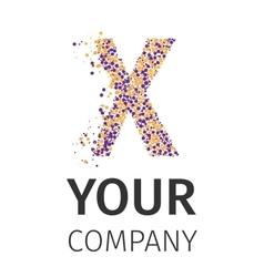 Alphabet particles logotype Letter-X vector image