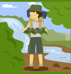 asian boy with backpack studying map vector image