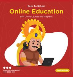 Banner design online education vector