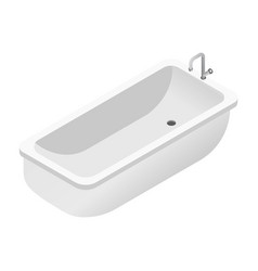 Bath isolated object bathtub with tap and drain vector