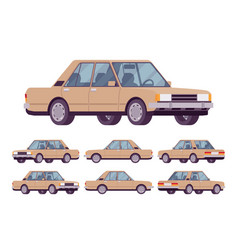 beige sedan set vector image