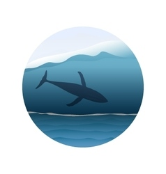 Big whale in huge ocean wave vector