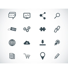 black seo icons set vector image