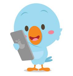 blue bird with phone art vector image