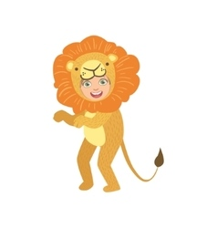 Boy In Lion Animal Costume vector