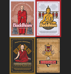 Buddhism religion symbols and buddhist monks vector