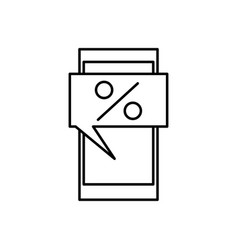 business percent on mobile icon vector image