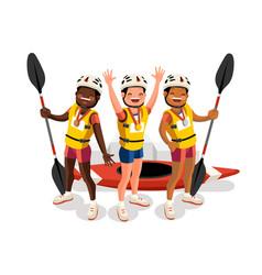 Canoe slalom kayak team medal podium vector