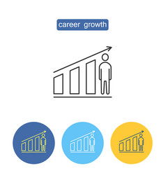 career growth outline icons set vector image