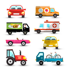Cars set car collection isolated on white vector
