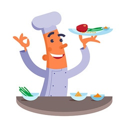 Cartoon chef holding plate with meat steak vector image