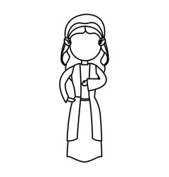 cartoon virgin mary manger christmas outline icon vector image vector image