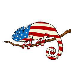 chameleon colored in american flag pop art vector image