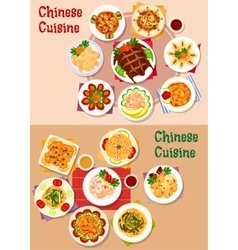 Chinese cuisine dishes icon for menu design vector