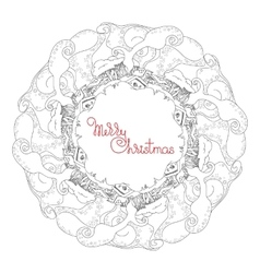 Christmas hand drawn mandala vector image