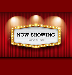 Cinema theater curtains and sign light up design vector