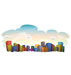Cityscape with buildings on sky background vector