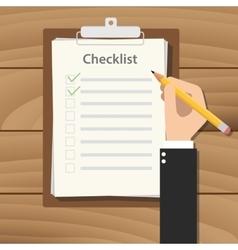 Clipboard checklist productivity hand check flat vector