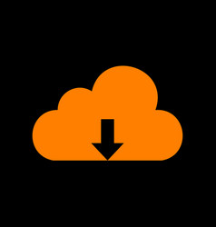 cloud technology sign orange icon on black vector image