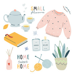 Collection cute hygge lifestyle elements vector