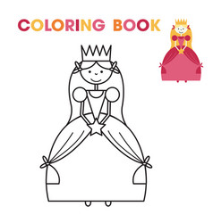Coloring book for little girls - the princess vector