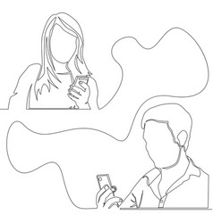 continuous one line concept man and woman chatting vector image