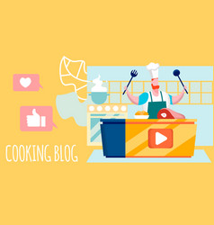 Cooking blog culinary workshop flat vector