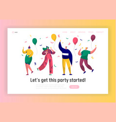 Corporate party landing page template happy people vector