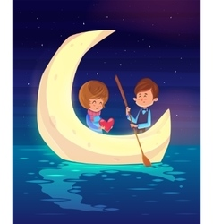 Couple sitting in a boat on the lake cute vector