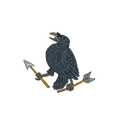 Crow Clutching Broken Arrow Drawing vector image