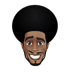 cute beard afro smiling black guy face avatar vector image