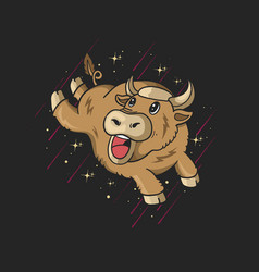 Cute bull jumping with stars vector